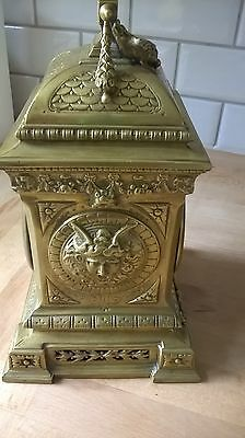 Beautiful ornate brass 8 day clock with 2 keys working nicely decorated solid 4