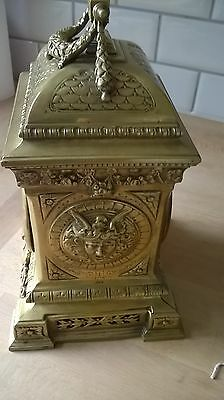 Beautiful ornate brass 8 day clock with 2 keys working nicely decorated solid 7