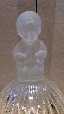 """Vtg Goebel 1978 Glass Christmas  Bell  With Frosted Praying Boy 6 1/4"""""""