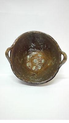 Antiguo Lebrillo de ceramica esmaltada con forma de Capacho Alfareria LA BISBAL. 3