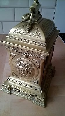 Beautiful ornate brass 8 day clock with 2 keys working nicely decorated solid 5