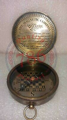 Nautical Antique Brass The Chess Maker 6th Century AD Compass With Leather Case 2