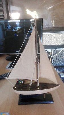 Modellschiff Holz Segler mit Takelage Boot Maritime Tisch Kamin Dekoration weis 2