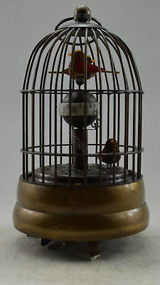 Collectible Decorated Old Copper Carved Bird In Cage Mechanical Table Clock 5