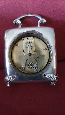 Antique Repousse Edwardian Carriage Clock Sterling Hallmarked 1900-1901 - Cool! 3