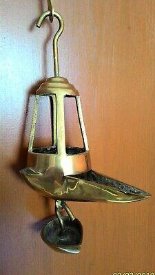 Antigua Lámpara De Aceite - Siglo Xix - Candil De Pico Bronce 8