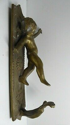 Antique Brass Curtain Ties Handles Pair Candle Wall Sconces Cupid Angel Statues 5