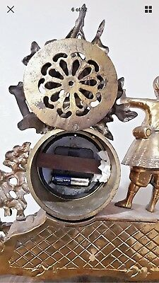 Antique French Brass  Figural Mantel Clock With Face Enamel Just Case 4
