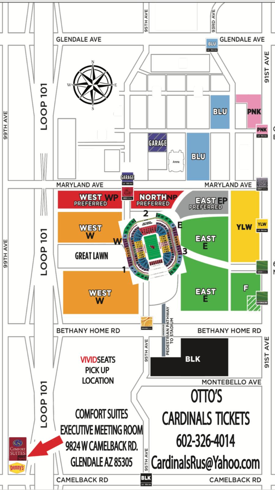 9d09ea98 ARIZONA CARDINALS V Detroit Lions 9/8 Orange W West Lot Parking Pass  Tickets Tix