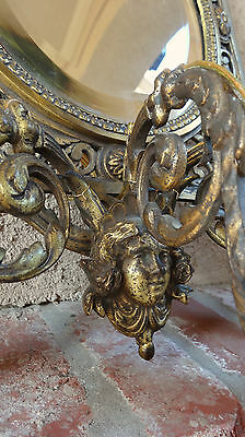 Antique French Brass Wall Sconce Light Fixture Beveled Oval Mirror Art Nouveau 7