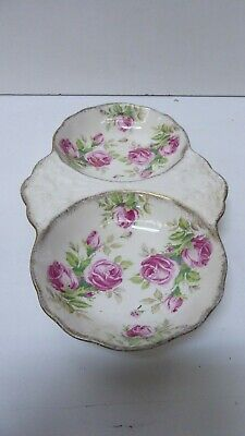 Vintage James Kent Double Bowl Serving Tray Pink Roses 7