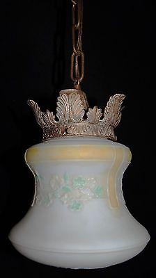 Deco Era Antique Pendant Swag Glass Shade Slip Ceiling Light Fixture Chandelier 4