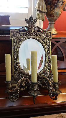 Antique French Brass Wall Sconce Light Fixture Beveled Oval Mirror Art Nouveau 10