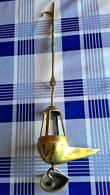 Antigua Lámpara De Aceite - Siglo Xix - Candil De Pico Bronce 3