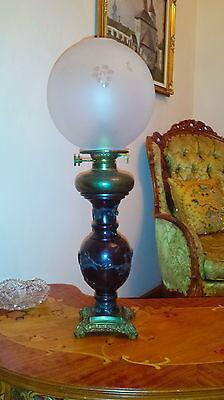 Antique Vantines Vantine & Co 1880 Parlor Oil Kerosene Table Lamp Glass Shade 2