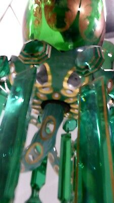 Antique Victorian Uranium Lustre Candle Chandelier Sconce Cut Cased Glass Gilt 7