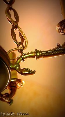 Charming Empire Tole And Brass Chandelier . 6 Arms / Snakes !!! 7
