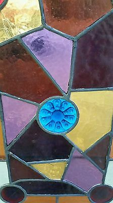 Antique Eastlake Victorian stained glass window. 12