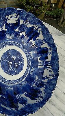 "Large Antique Japanese Imari Porcelain Bowl Scalloped Rimmed Meiji Period 13""dia 2"