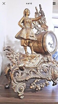 Antique French Brass  Figural Mantel Clock With Face Enamel Just Case 2