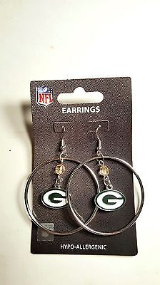 "Nfl Earrings Team 2"" Hoop Color Bead Dangle Style With Hoop You Pick The Teams"