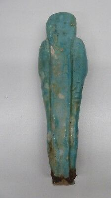 Antique 600 Bc Ancient Egyptian Relic Funeral Tomb Statue Blue Faience Ushabti 4