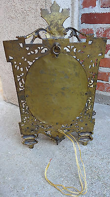 Antique French Brass Wall Sconce Light Fixture w Oval Mirror Louis XV 12