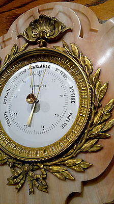 """Antique French Louis XVI Style Ormolu Pink Marble Wall Barometer 24.5""""Tall 9"""