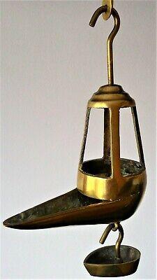 Antigua Lámpara De Aceite - Siglo Xix - Candil De Pico Bronce 6