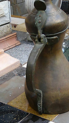 "Huge Antique17-18C Islamic Turkish Ottoman  Brass Tombak Coffee Pot 26""h Signed"