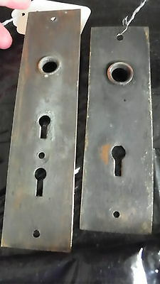 2 Polished Cast Bronze Eastlake Door Plates 1 Dbl Key 1 Single Key 3965J 4854Q 2