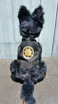 Black Tan German Shepherd Plush Police Dog w K9 Badge Mirrored Aviators charity 5