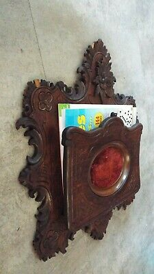 antique black Fores Wood wall Magazine Holde Rack Stand Newspaper Book Mail Card 4