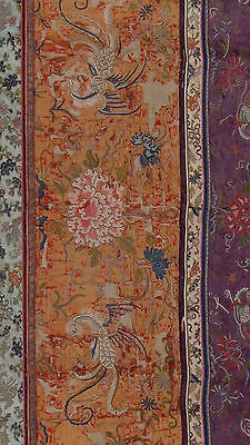 ANTIQUE 19c CHINESE FORBIDDEN STITCH POLICHROME SILK EMBROIDERY PHOENIX BANNER 2