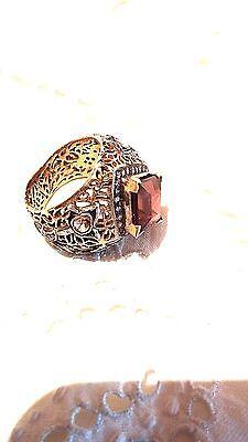 Antique Genuine Flat Cut Diamond Pink Tone Real Garnet 14k Vintage size 9.5 Ring