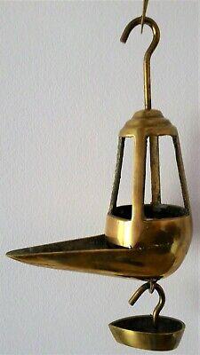 Antigua Lámpara De Aceite - Siglo Xix - Candil De Pico Bronce 2