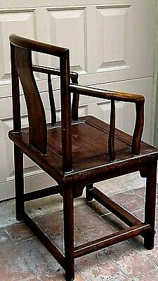 ANTIQUE 19c CHINESE ELM WOOD SQUARE ARMS & BACK  SINGLE SPLAT BACK ARMCHAIR 7