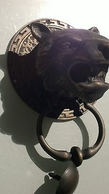 LION TIGER head old heavy front Door Knocker SOLID BRASS vintage antique style B 5