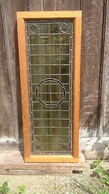 Architectural Antique Victorian Arts & Crafts Bullseye Leaded Glass Window Frame 7
