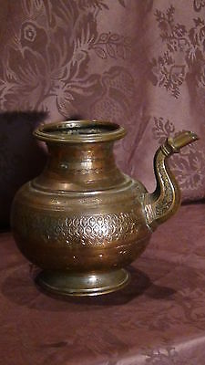 Antique 18C Islamic Copper Punjab Water Pitcher,jug Hand Engraved Islamic 2