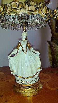 Antique Pair French Provincial Figurine Boudoir Lamps Light Fixtures Chandeliers 2