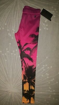 Girls Hurley Sublimation Leggings Size L 152-158Cm (12-13 Years) Black/ Pink 5