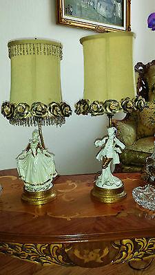 Antique Pair French Provincial Figurine Boudoir Lamps Light Fixtures Chandeliers 3