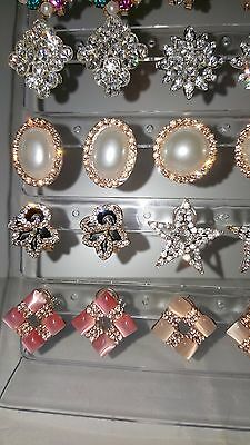Job lot 18 Pairs Mixed Design Sparkly Diamante stud Earrings NEW Wholesale lot 1 6