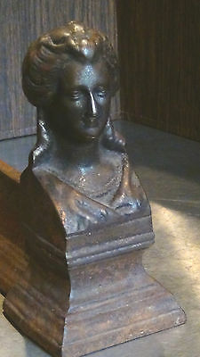 ANTIQUE FRENCH 1820c BRONZE FIGURALWOMAN BUST ANDIRON #2