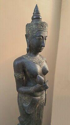 ANTIQUE BRONZE STATUE OF A FEMALE DEVATA, AYUTTHAYA. KHMER INFLUENCE. 19/20th C. 6