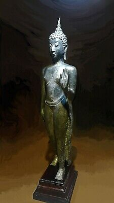 Antique Bronze Sukhothai Walking Buddha, Temple Relic. 19/20Th C. 4
