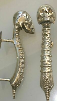 2 SKULL handle DOOR PULL spine solid BRASS old vintage style SILVER 280mm B 4