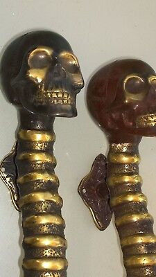 2 large SKULL handle DOOR PULL spine solid BRASS old vintage aged  style 33cm B 2