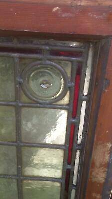 Architectural Antique Victorian Arts & Crafts Bullseye Leaded Glass Window Frame 9